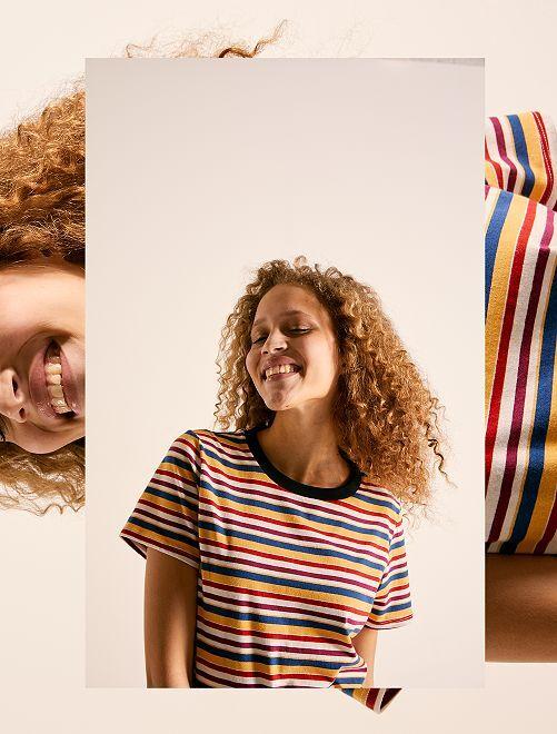 Maglietta cropped cotone bio                                                                                         GIALLO Donna