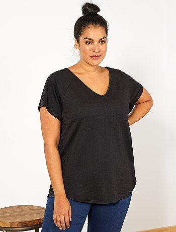 Taglie forti donna - Maglietta dettaglio macramè - Kiabi 3b144678abe