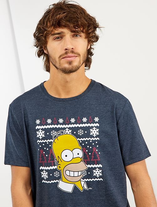 Maglietta di Natale 'I Simpson'                             BLU