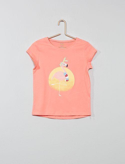 Maglietta eco-design con stampa                                                                                                                             ROSA Infanzia bambina