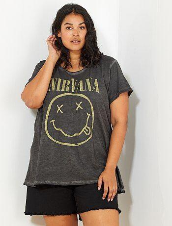 Taglie forti donna - Maglietta effetto delavé 'Nirvana' - Kiabi