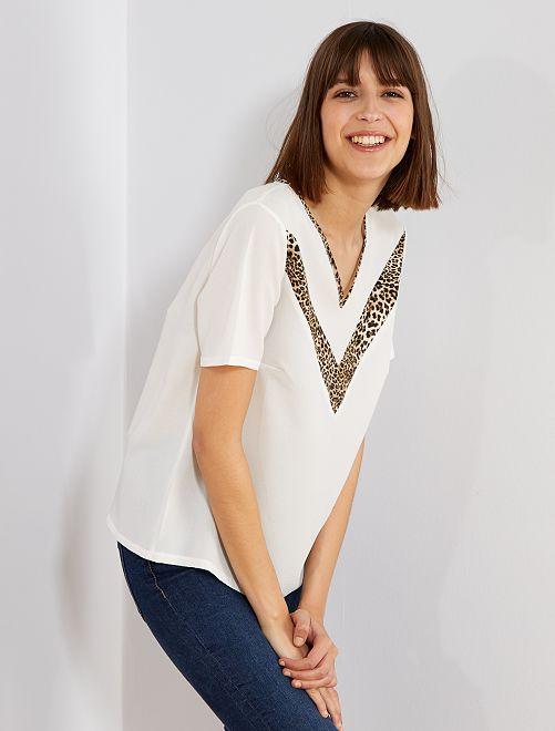 Maglietta effetto goffrato                             bianco Donna