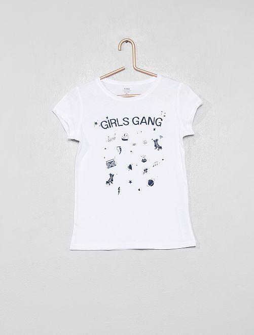 Maglietta fantasia cotone biologico                                                                                                                             BIANCO Infanzia bambina