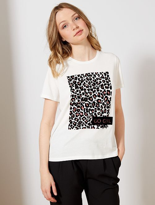 Maglietta floccaggio velluto leopardo                             BEIGE Donna