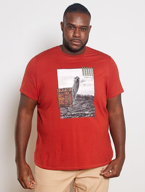 Maglietta foto stampata fantasia                                         ARANCIONE
