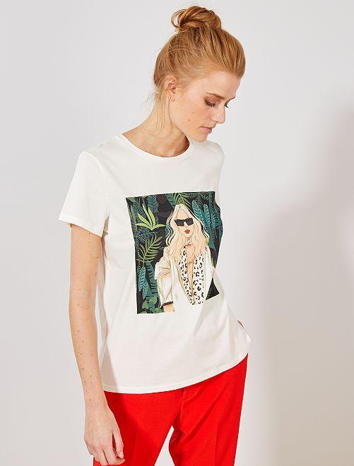 Maglietta foto stampata femminile                             BEIGE Donna
