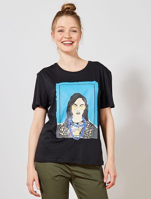 Maglietta foto stampata femminile                             NERO Donna