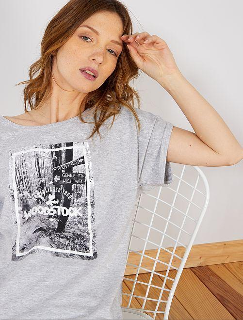 Maglietta foto stampata 'Woodstock'                             grigio Donna