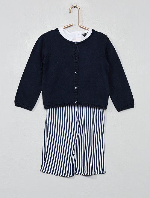 Maglietta + golfino + pantaloni                                         BIANCO Neonata