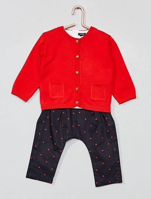 Maglietta + golfino + pantaloni                             ROSSO Neonata