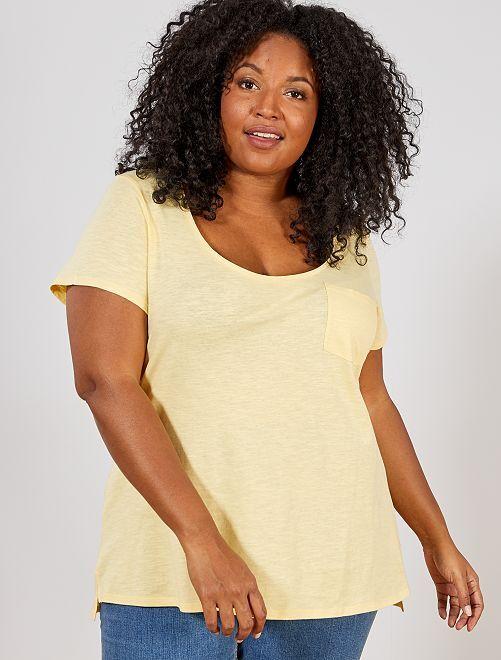 Maglietta jersey fiammato                                         giallo oro Taglie forti donna