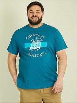 Taglie forti Uomo - Maglietta jersey stampa tropicale - Kiabi