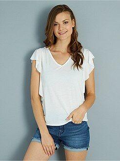 Magliette bianco - Maglietta jersey volant e fiocco dietro