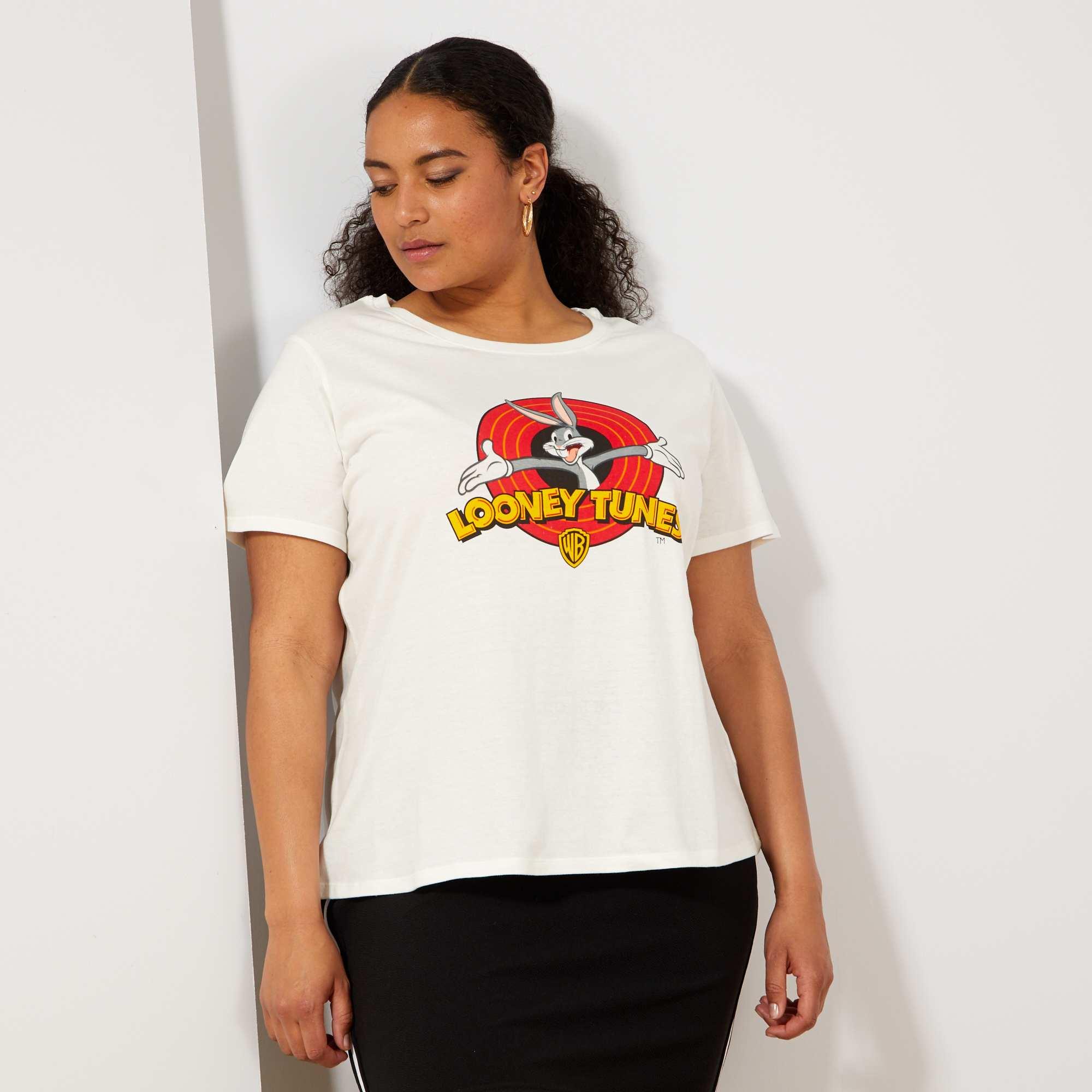 Donna Neve Kiabi 'looney Tunes' Taglie Maglietta Bianco Forti uFTlc5K1J3