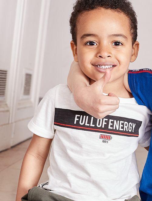 Maglietta maglia fiammata stampata                                         BIANCO Infanzia bambino