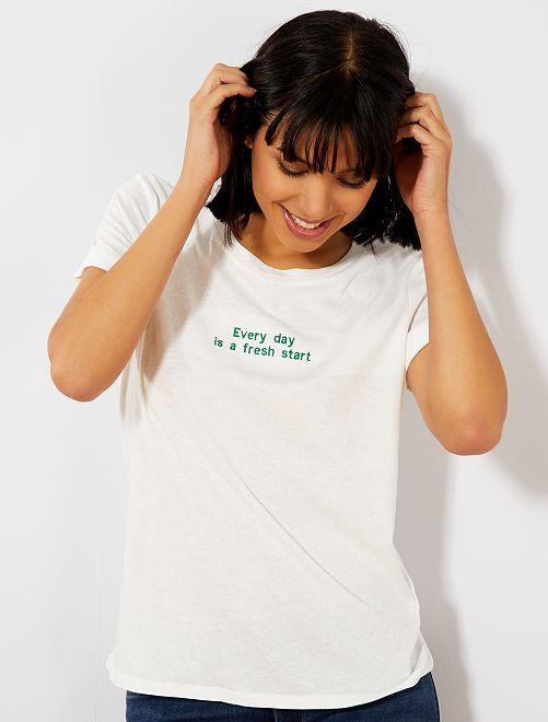 Maglietta messaggio ricamato                                                                 BIANCO Donna
