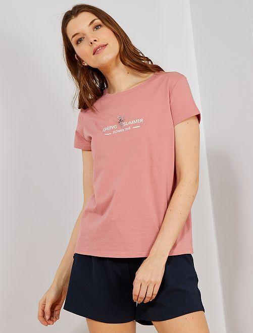 Maglietta messaggio stampa e fiori                     ROSA Donna