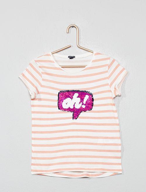 Maglietta paillette 'bolla'                                                                 BIANCO Infanzia bambina