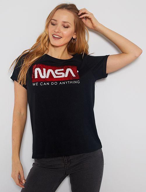 Maglietta paillette reversibili 'Nasa'                             nero