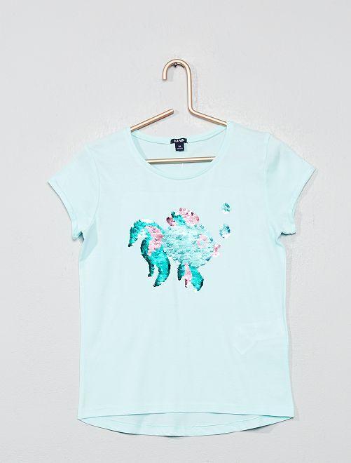 Maglietta paillette 'bolla'                                             BLU