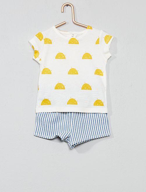 Maglietta + pantaloncini a righe                                         BIANCO Neonata