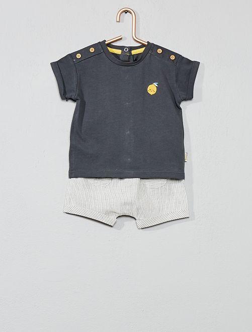 Maglietta + pantaloncini 'limone'                             grigio Neonato