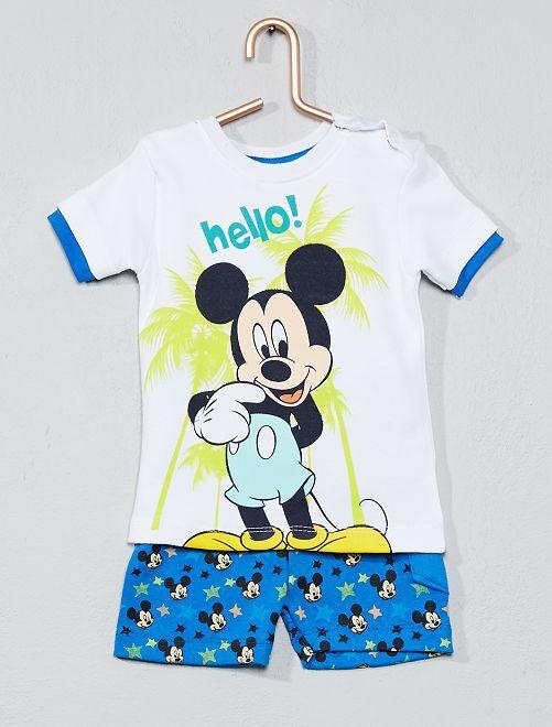 Maglietta + pantaloncini 'Topolino'                                         bianco Neonato