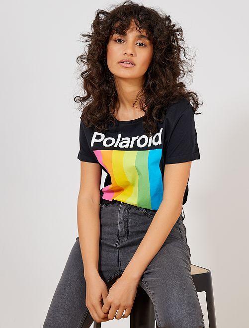 Maglietta 'Polaroid'                             nero Donna