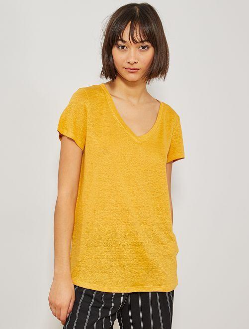Maglietta puro lino                                         GIALLO Donna