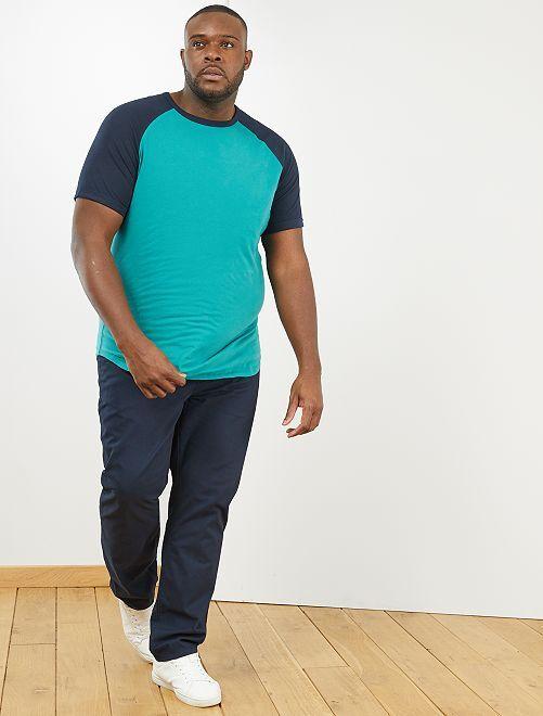 Maglietta regular bicolore 'eco-design'                                         BLU