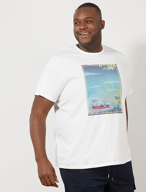 Maglietta regular con stampa                                                                                                                 BIANCO