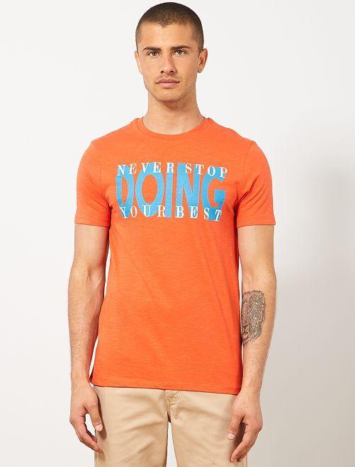 Maglietta regular cotone bio                                                                                                     ARANCIONE Uomo