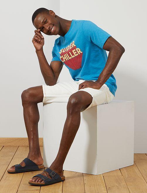 Maglietta regular cotone bio                                                                                 BLU Uomo