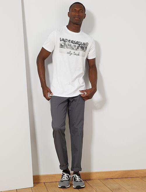 Maglietta regular cotone bio stampa                                                                                                                                                                                                                                                     BIANCO Uomo