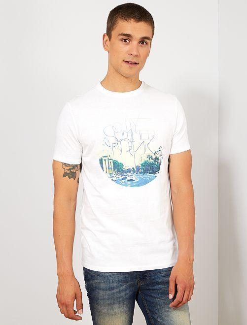 Maglietta regular cotone bio stampa                                                                                                                                                                                                                                         BIANCO