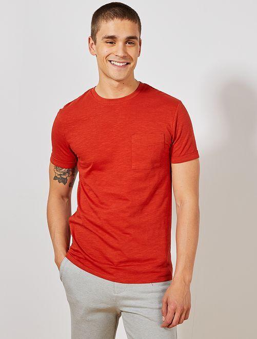 Maglietta regular cotone biologico                                                                                                     arancio ketchup Uomo