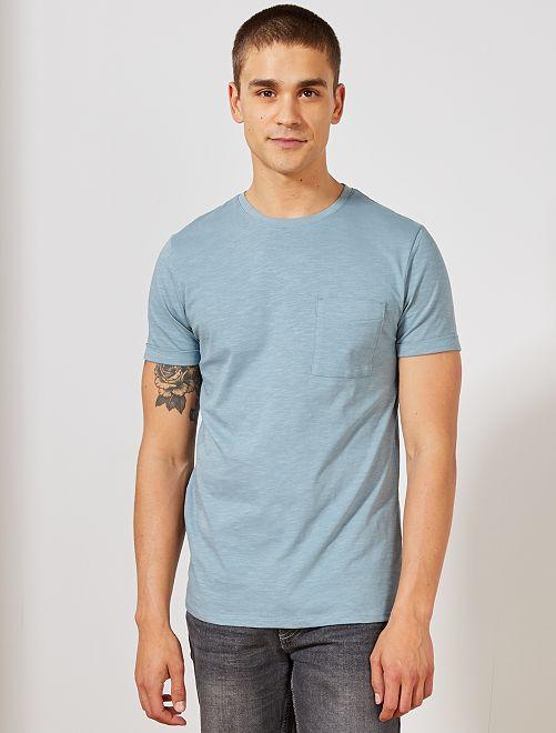 Maglietta regular cotone biologico                                                                                                     blu grigio Uomo