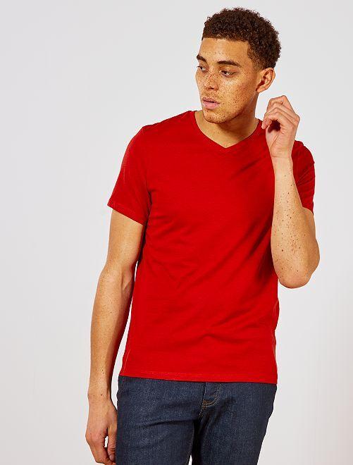 Maglietta regular cotone collo a V                                                                                                                                         arancio ketchup Uomo