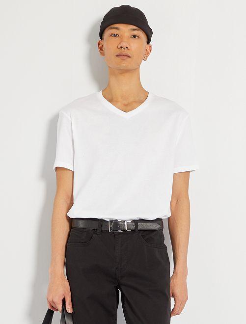 Maglietta regular cotone collo a V                                                                                                                                         bianco Uomo