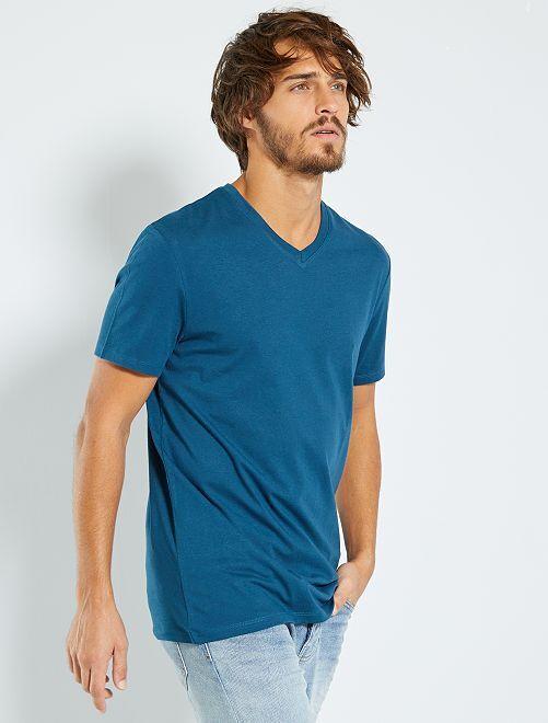 Maglietta regular cotone collo a V                                                                                                     blu notte
