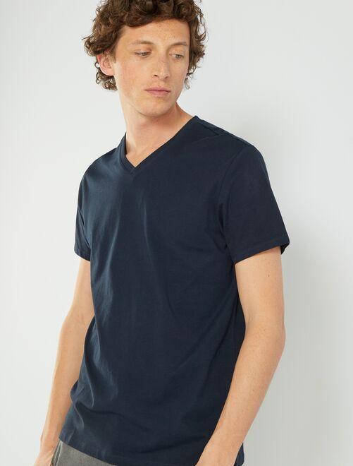 Maglietta regular cotone collo a V                                                                                                                                         BLU Uomo