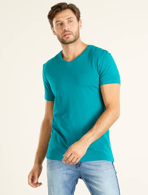 Maglietta regular cotone collo a V                                                                                                                                         VERDE Uomo