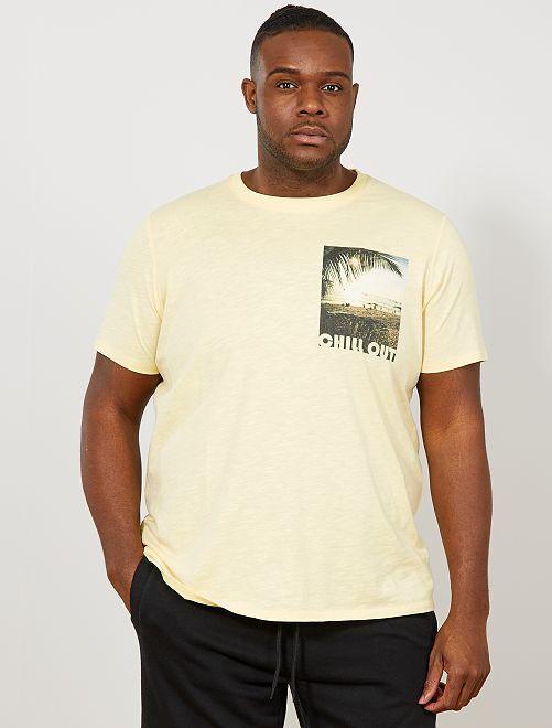 Maglietta regular foto stampata                                         GIALLO Taglie forti uomo