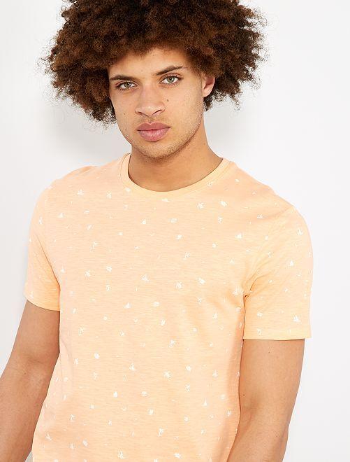 Maglietta regular micro motivo                                                                 ARANCIONE Uomo