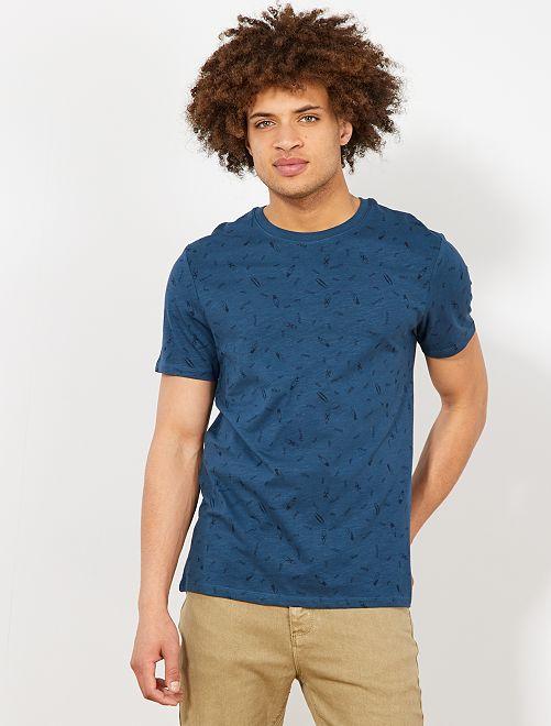 Maglietta regular micro motivo                     BLU Uomo