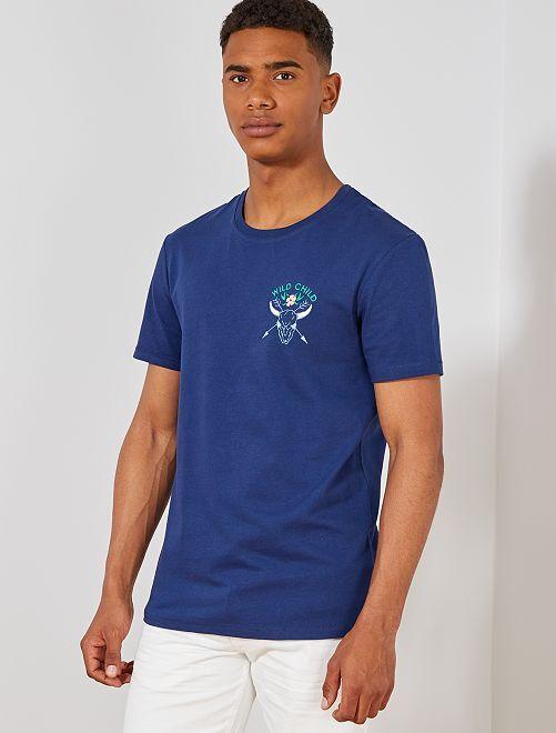 Maglietta regular motivo ricamato                                                     BLU Uomo