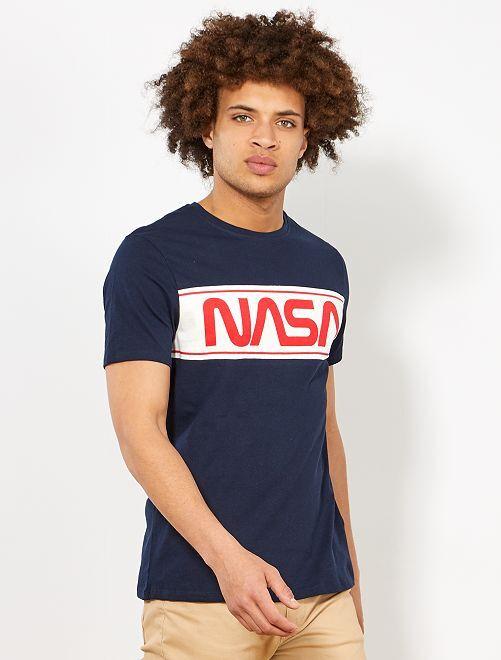 Maglietta regular 'NASA'                             BLU Uomo