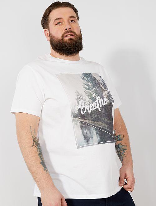 Maglietta regular stampa eco-design                                             BIANCO