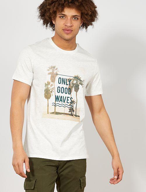 Maglietta regular stampa eco-design                                                                     BIANCO Uomo