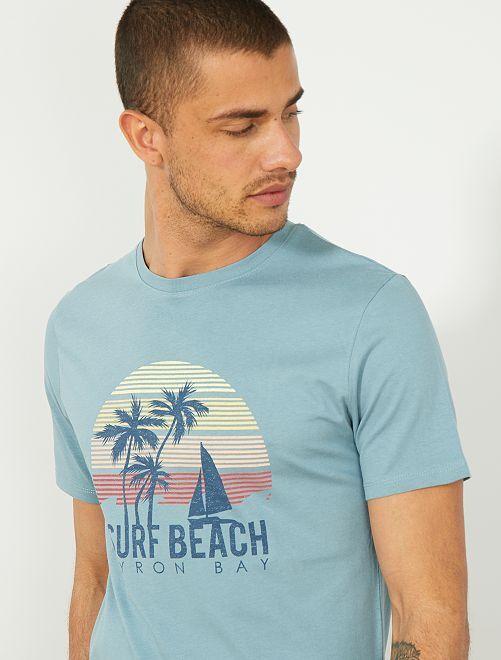 Maglietta regular stampa eco-design                                                                 BLU Uomo